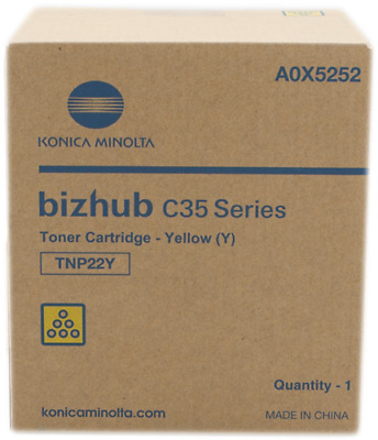 Genuine Konica Minolta C35 yellow toner cartridge TNP22Y A0X5292