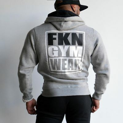 New  FKN Gym Wear Men's 'Gun Smuggler' Hoodie - Grey