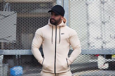 New  Rig Fit Active Zip Up Hoodie – Cream
