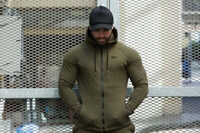 New  Rig Fit Active Zip Up Hoodie - Khaki