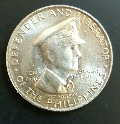 1947 S Philippines 50 Centavos Silver 0.750 General Macarthur UNC Coin....