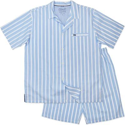 New Mens Coast & Co Cotton Short Blue Stripe Pyjamas Pjs Sleepwear XL Only