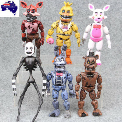 """Five Nights at Freddys Nightmare 5"""" Set of 6 Action Figures Collectible Gift New"""