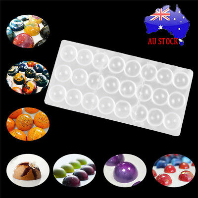 24 Grid Clear Hard Chocolate Maker Polycarbonate PC DIY Ball Candy Mold Mould AU