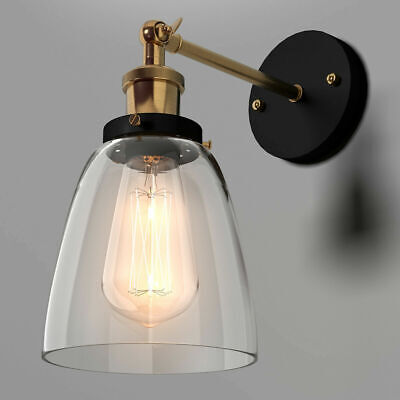 Multi-form Industrial Vintage Simplicity Glass Wall Sconce Light Lamp Metal Base