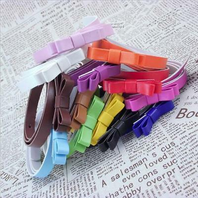 Double Layer Solid  Strap  Ladies  New Hot Bow  Waist Belt Retro  Candy Color