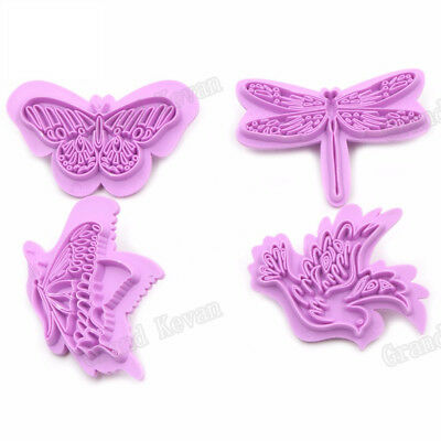 4Pcs Plastic Butterfly Cake Cutter Decor Mold Cookie Biscuit Fondant Embosser