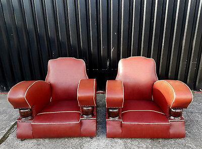 Pair of Original French Art Deco Club Chairs, Red oil cloth