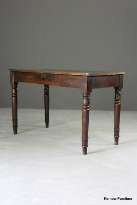 Antique 19th Century Rustic Mahogany Side Writing Kitchen Table