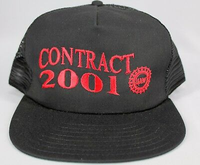 UAW Labor Union Contract 2001 Trucker Hat Cap Black United Auto Workers Snapback