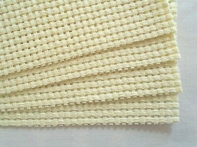 4 x Cream Binca Fabric - 5 count (HPI) - each 20 cm x 25 cm and Plastic Needle