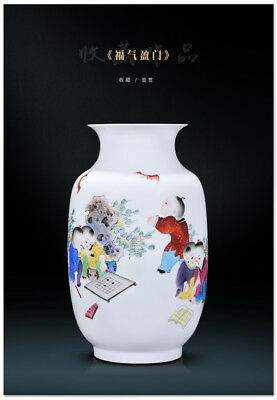 China jingdezhen Porcelain hand painting children Play chess & read vase  A9