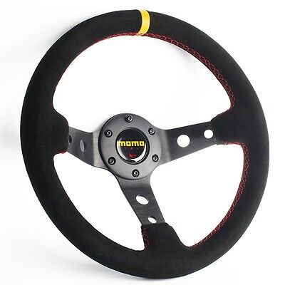 New 330MM Deep Dished Suede Leather Car Steering Wheel Chrome Bezel MOMO Horn