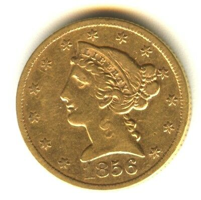 1856 $5 Gold Piece Liberty Half Eagle XF In Grade No Motto