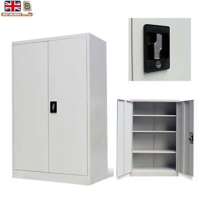 Metal Office Storage Cabinet Filing Document Cupboard Unit Lockable 2 Doors140cm