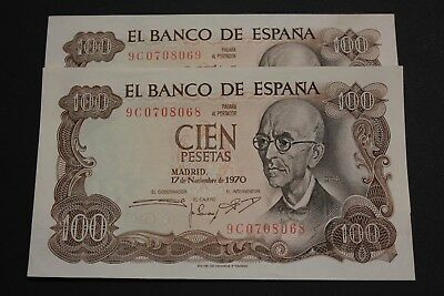 Spain 1970 100 Pesetas Pareja Correlativa Manuel De Falla 2 Notes Serie 9C Unc-