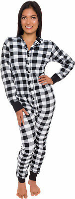 Silver Lilly Unisex Adult Plaid One Piece Pajamas w/ Drop Seat (Black/White, L)