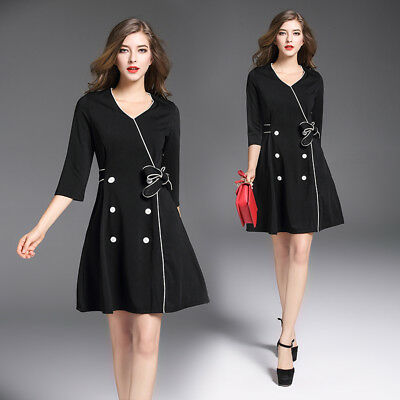 """2017 Autumn women's new style fashion temperament """"V""""neck double-breasted Dress"""