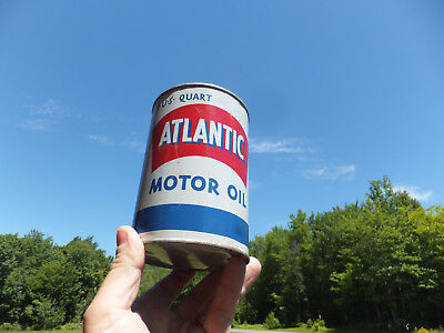 Vintage Quart Atlantic Detergent Motor Oil Tin Can  Iconic Looking