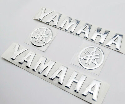 Silver Fuel Tank Side Badge 3D Emblem Fairing Body Decal Sticker Set For Yamaha