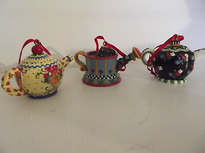 Lot 3 Vintage Mary Engelbreit Teapot Water Can Christmas Ornaments 1997
