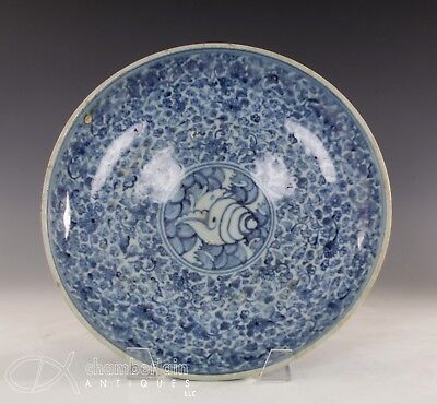 Large Antique Chinese Ming Dynasty Porcelain Dish With Scrolling And Sea Life