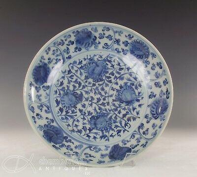 Beautiful Large Antique Chinese Blue And White Dish With Flowers - Ming Dynasty