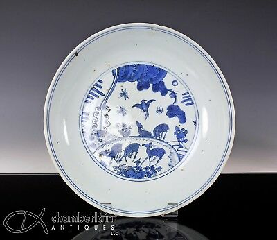 Beautiful Antique Ming Dynasty Chinese Porcelain Dish With Scene Of Deer