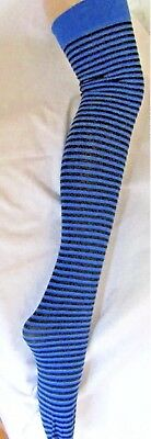 Ladies Blue And Black Striped Over Knee Socks - One Size  BRAND NEW