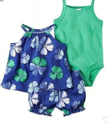 Carter's Baby Girls' 3-Piece Bodysuit And Floral Short Set 3 Months NWT V787