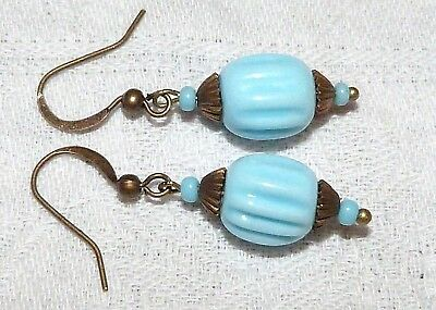 Vintage 1930s blue French melon glass bead earrings - to match old necklaces