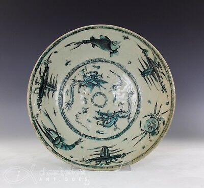 Large Antique Chinese Swatow Chinese Porcelain Dish With Aquatic Life Design