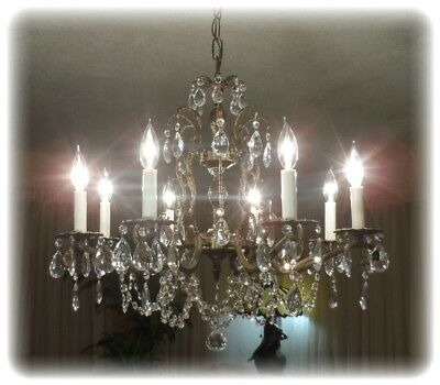 Vintage Fantastic  Brass Crystal Double Pineapple Chandelier