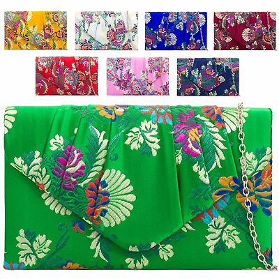 Ladies Ethnic Floral Satin Clutch Bag Flower Evening Bag Purse Handbag KH2094