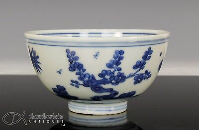 Ming Dynasty Antique Chinese Blue And White Small Bowl With Landscape