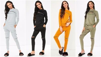 Womens Ladies Zip Ripped Long Sleeve Top Joggers Loungewear 2PC Tracksuit Set UK