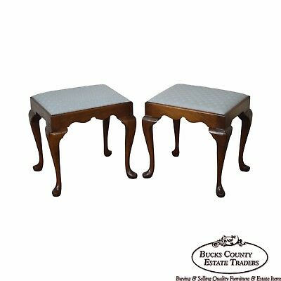 Madison Square Pair Solid Mahogany Queen Anne Stools Benches