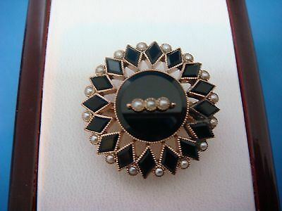 Antique, Victorian 14K Yellow Gold Onyx & Seed Pearls Brooch-Pendant, 3.9 Grams