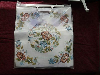 Vintage Smithsonian Chinese Floral wool Needlepoint square Pillow Kit
