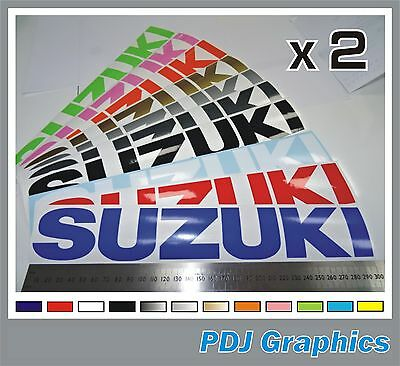 2 x SUZUKI Vinyl Decals / Stickers Large 300mm - ANY COLOUR  Bellypan / Tank