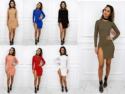 UK New Long Sleeve Mini High Slit Party Pencil Bodycon Dress Celeb Club Party