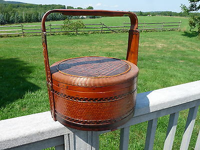 Antique ASIAN CHINESE Wood Bamboo & Reeds WEDDING BASKET  FOOD (PIE) CARRIER
