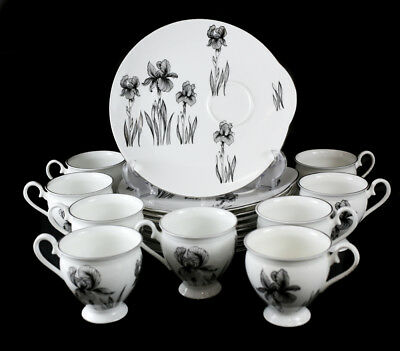 9pc Set Crown Staffordshire Black Iris Smooth Snack Plates & Footed Cup