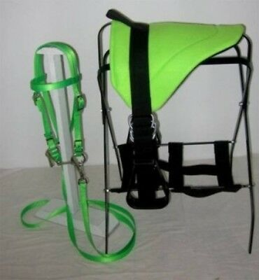 MINIATURE HORSE / SM PONY BAREBACK SADDLE SET - LIME GREEN. Party Ponies