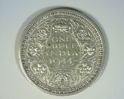 INDIA 1944-b SILVER RUPEE .1874 ASW  KM557.1   ABOUT UNCIRCULATED  ~403682