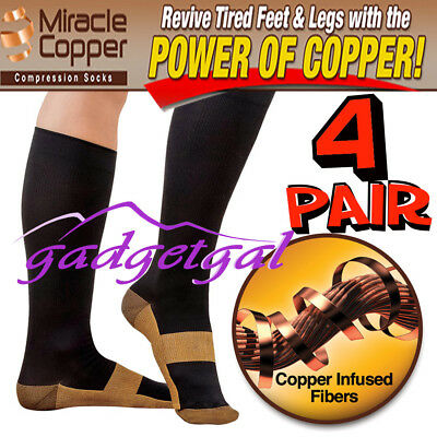 4 Pr Compression COPPER infused MIRACLE SOCKS, Varicose Veins, Flight, Travel