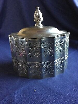 Vintage Ornate Godinger Silver Plated  Jewelry Trinket Box w Lid.