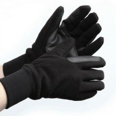 (Black, Large) - Winter Fleece Riding Gloves With Leather Reinforcements,