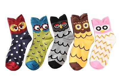(4 - 7 (UK)) - 5 Pair Cartoon Owl style Womens Cotton Socks. pincai