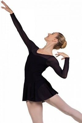 (Black, Medium) - Ballet Rosa Francesca Long Sleeve Ladies Leotard with Skirt